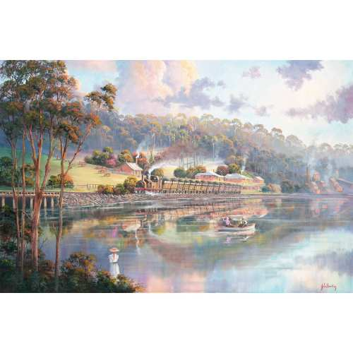 Early Days in Glenrock Lagoon painting by John Bradley