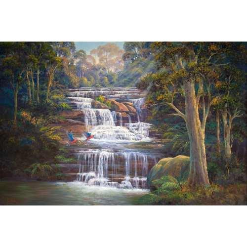 Queens Cascades Waterfall Painting John Bradley