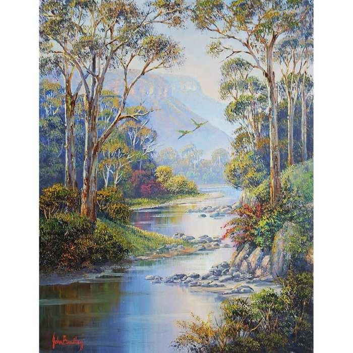 River Scene and Mountains Art John Bradley