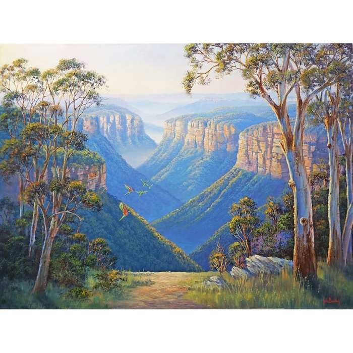 Parrots in the Blue Mountains Oil Painting by John Bradley