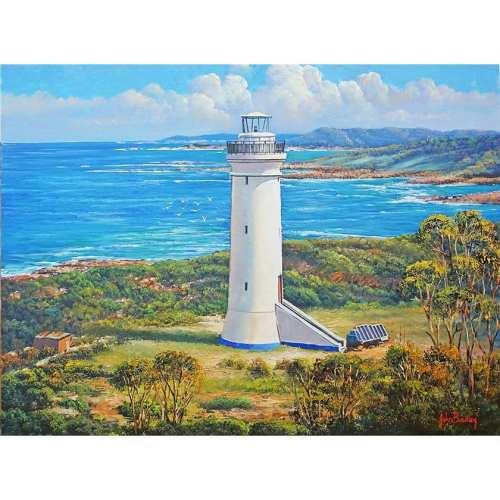 White Lighthouse seascape painting John Bradley
