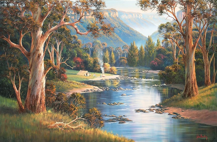 Megalong Velley Campers painting by John Bradley