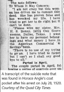 Horace Angle Suicide Note