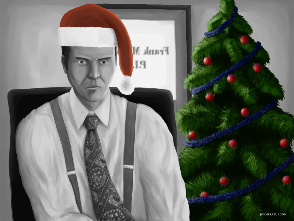 Neo-noir digital painting of a private investigator having a bad case of Christmas