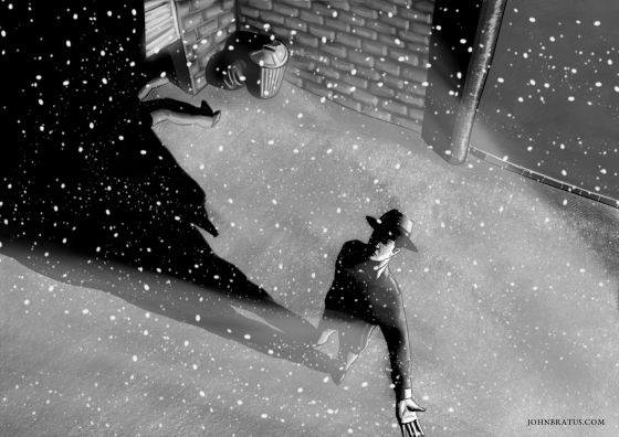 Neo-noir digital painting of a detective on a crime scene during a snowfall