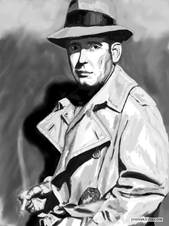 Digital speed painting of Philip Marlowe smoking a cigarette