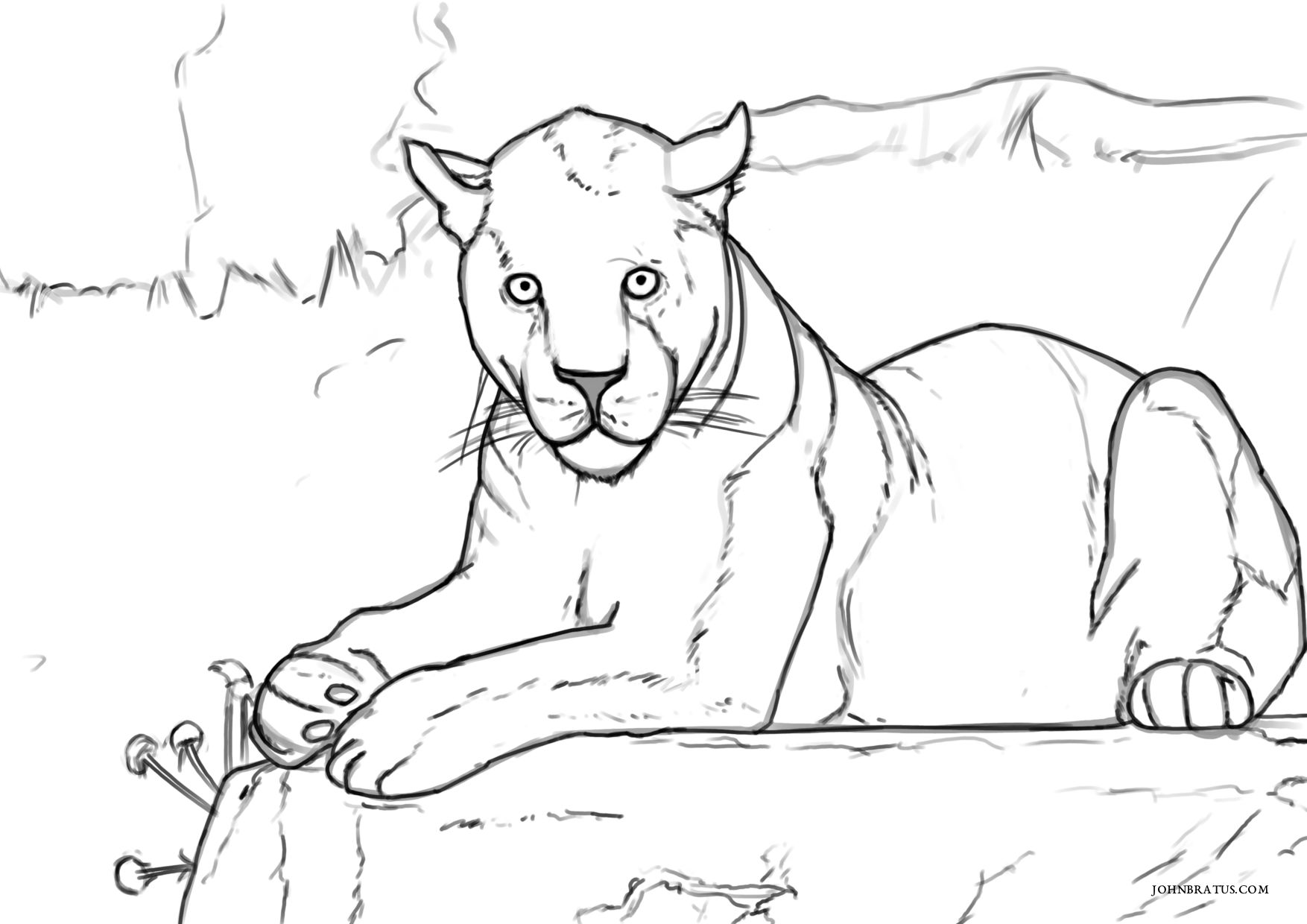 Digital sketch of a black panther resting atop a rock