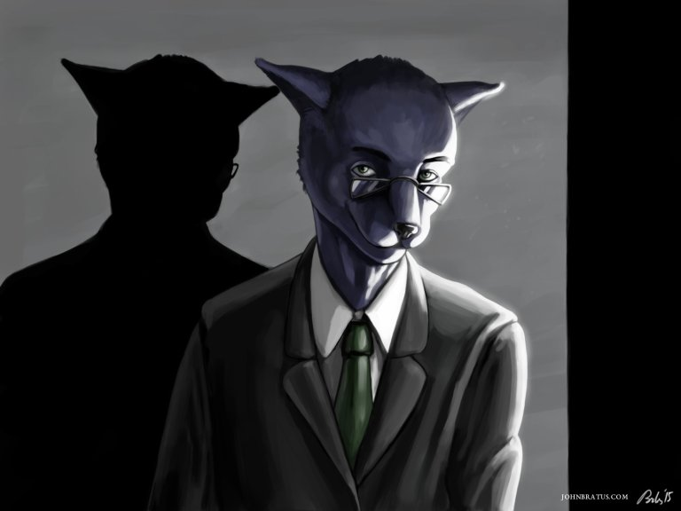 Neo-noir digital painting of an anthropomorphic panther