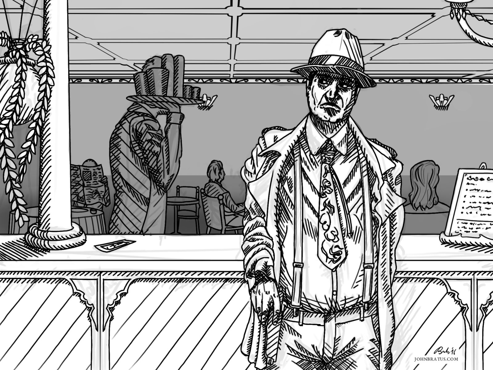 Neo-noir digital illustration of a mobster taking off his trench coat in a restaurant