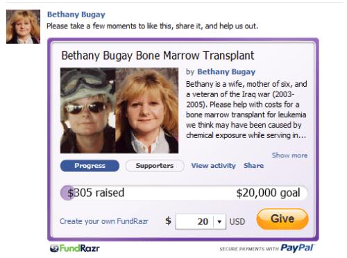 Bethany's Fundrazr