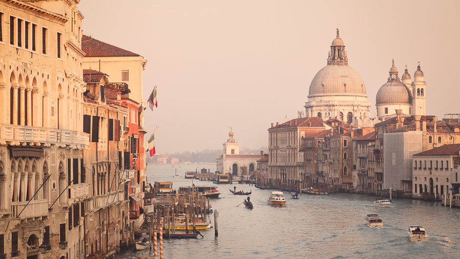 View of the Grand Canal in Venice from the Ponte dell'Accademia in the late afternoon