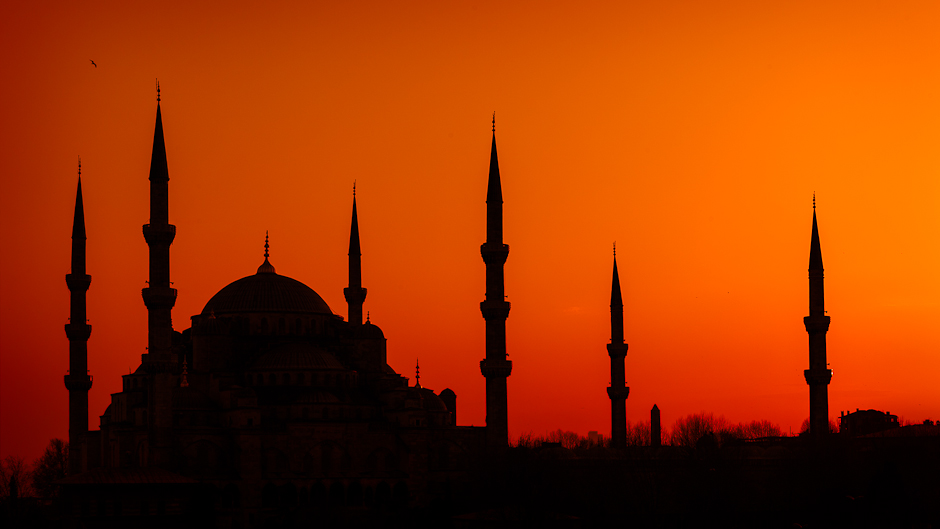 Photograph of the silhouette of the Blue Mosque in Istanbul Turkey