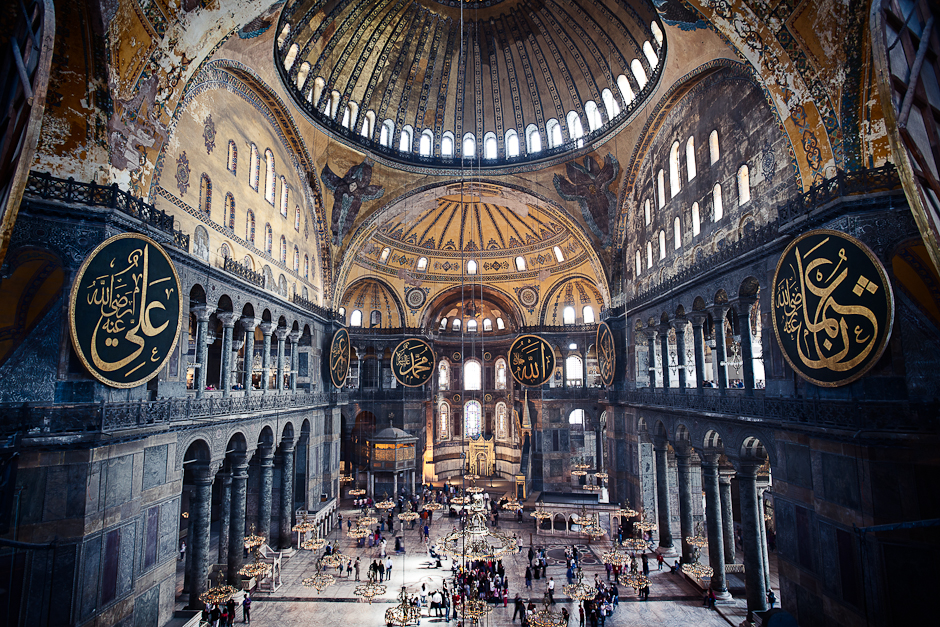 The interior of Hagia Sophia in Istanbul