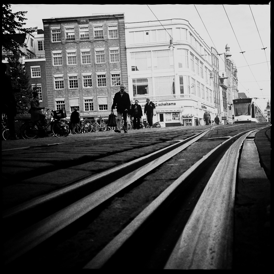 Black and White photograph of Tram tracks in Amsterdam taken with the iPhone and Hipstamatic