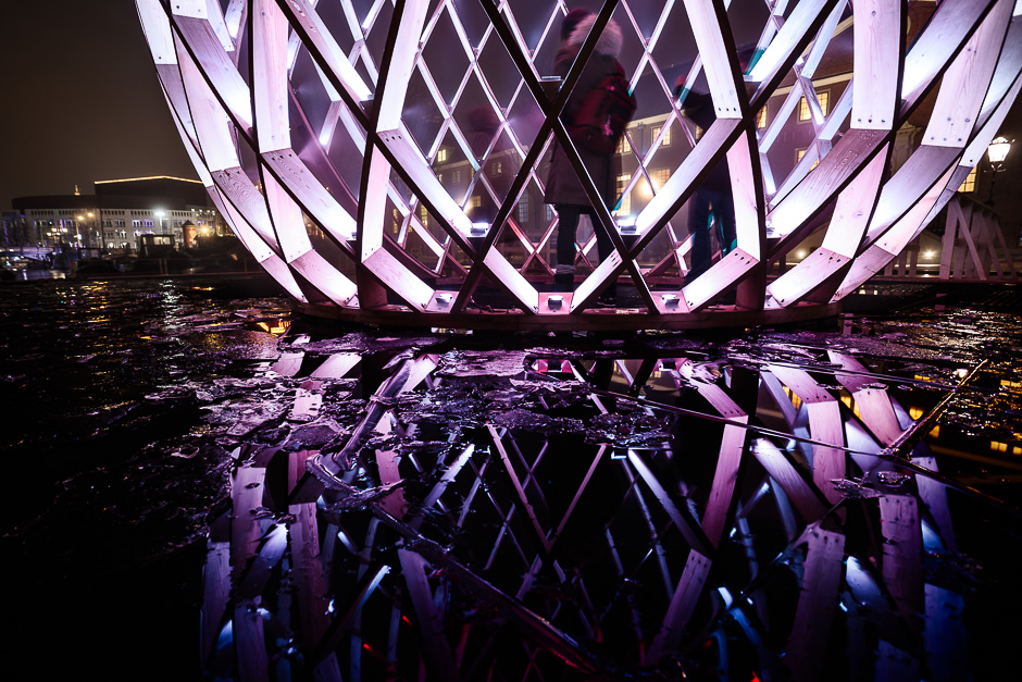 Photograph of OVO a light sculpture on the Amstel river, in Amsterdam for the Amsterdam Light Festival
