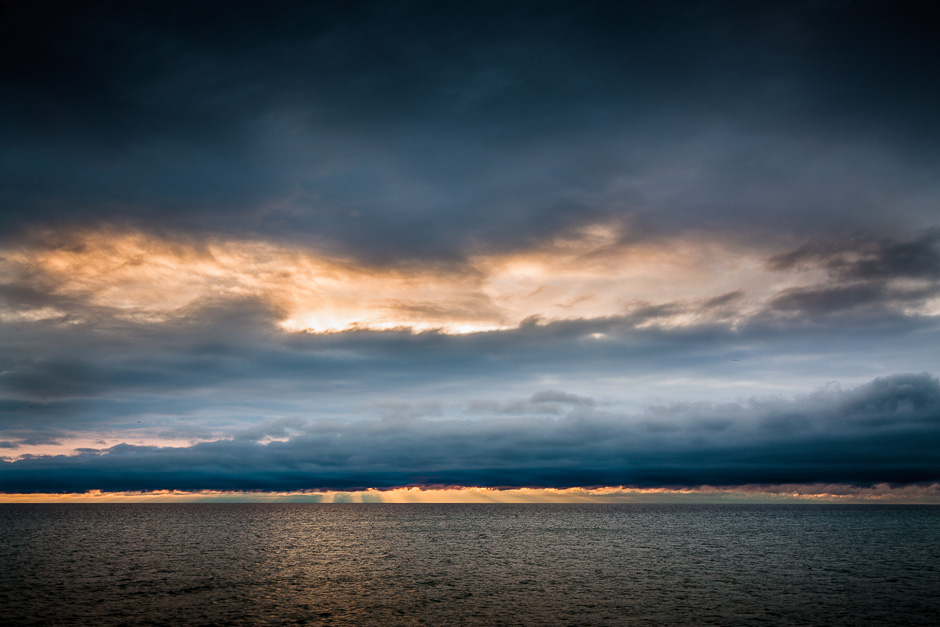 Lake ontario sunrise from the leslie spit in toronto
