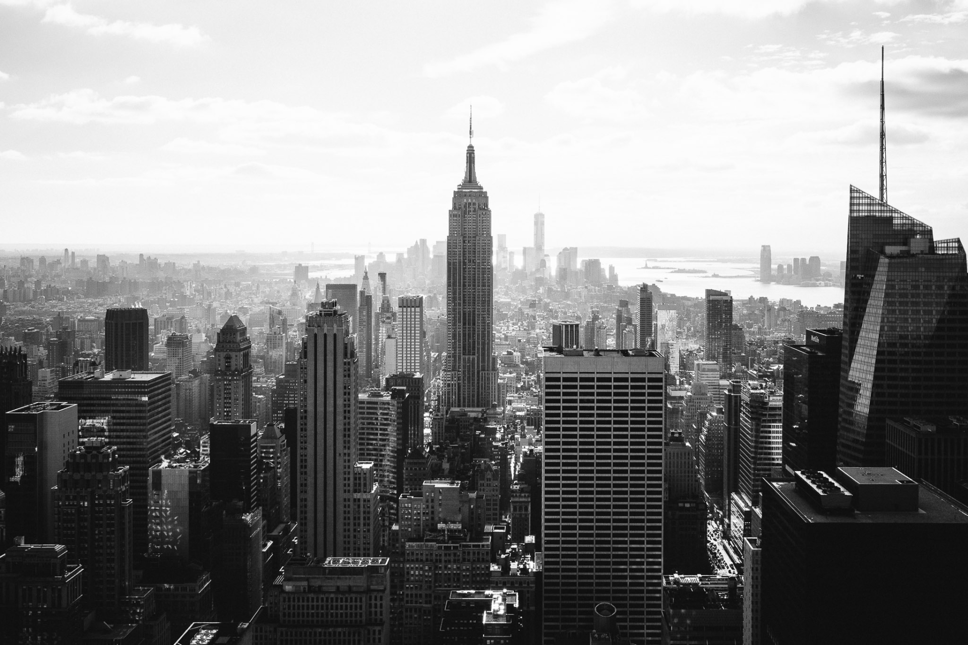 The empire state building seen from the observation deck at the top of the rock at the rockefeller centre in New York City. Taken with a FujiFilm X-Pro1 and a 23mm lens