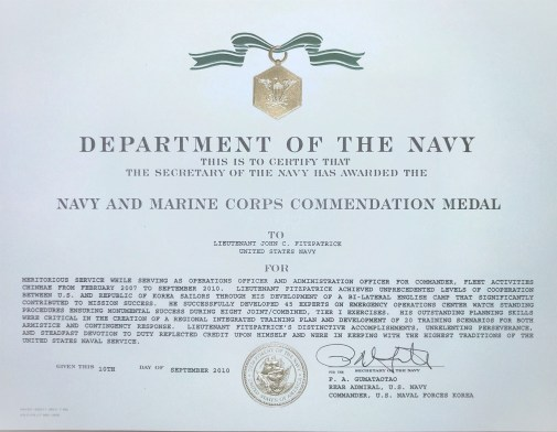 2010 - Navy Commendation Medal Citation