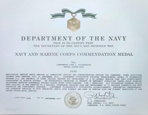 2010 - Navy Commendation Medal Citation