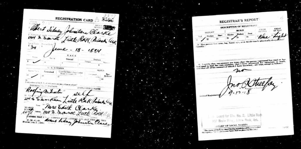 U.S.WorldWarIDraftRegistrationCards1917-1918ForAlbertSidneyJohnstonClarke