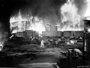 "The most memorable scene in ""Gone With the Wind"" was the recreation of Confederate Gen. John B. Hood's destruction of his own munitions train. The scene was filmed on a studio lot in Los Angeles in December 1938."