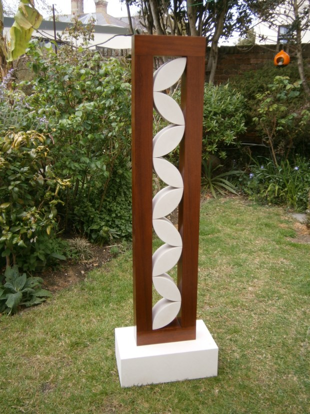 Abstract Sculpture Wooden Frame With Stones Inside