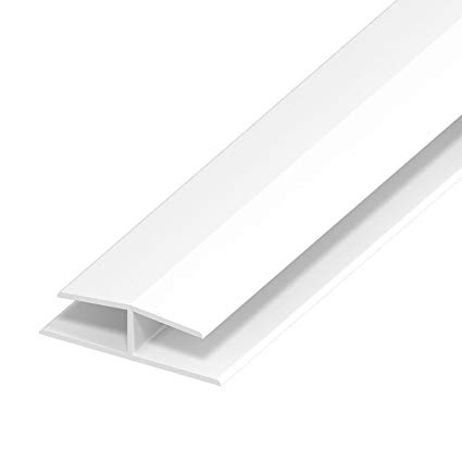 WHITE PVC HOLLOW CLADDING JOINTING TRIM 5 METRE
