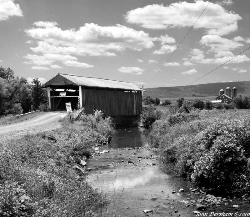 7-1-2010 Cover Bridge in Union County Pennsylvania-Wista DX 4x5 camera-120mm Schneider Super Symmar HM lens-G filter-Efke R100 4x5 film-PMK Pyro developer.