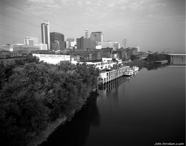 9-14-1980 Nashville from the Shelby Stree bridge-Crown Graphic 4x5 camera-90mm Wollensak wide angle lens-Orange filter-Kodak Plus X Pan Pro 4x5 film-Kodak Microdol X developer.