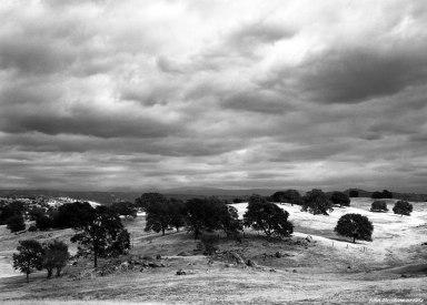 10-1-1984 Sunlight and storm clouds-rolling hills of California near Fresno-Linhof Tecnika V 4x5 camera-150mm Schneider Symmar S lens-K2 filter-Kodak Plus X Pan Pro 4x5 film-Kodak HC110B developer.