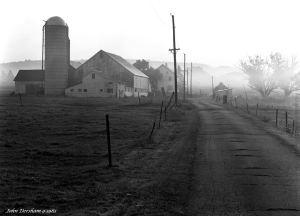 9-18-1983 Foggy Pennsylvania farm scene at sunrise -Cambo SC 4x5 view camera-300mm Schneider Xenar lens-Kodak Tri X Pan Pro 4x5 film-Kodak HC110B developer.