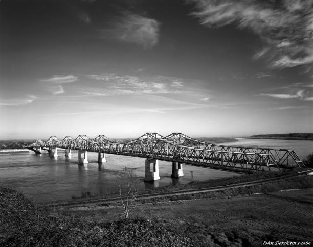 1-4-1989 Mississippi River at Natchez Mississippi-Cambo 4x5 view camera-90mm Schneider Super Angulon-K2 filter-Kodak T-max 100 4x5 film-Kodak HC110B developer.