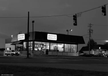 10-14-1990 Dunkin Donuts pre dawn-Homewood Alabama-Linhof ST 4x5 view camera-300mm Schneider Xenar lens-Kodak T-max 100 4x5 film-Kodak Tmax RS developer.
