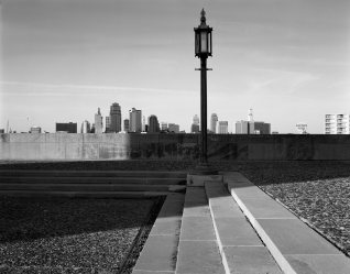 10-12-1992 Kansas City from War Memorial Park-Linhof Technika 4x5 camera-120mm Schneider Super Symmar lens-Yellow G filter-Tmax 100 4x5 film-Tmax RS developer.