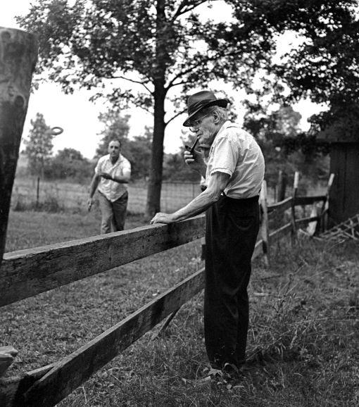 8-1971 Mr. Mutschler age 94 watching Dewhite Shoemaker pitch Quakes in Mifflinburg Pennsylvania-Mamiya C220-80mm Sekor lens-Kodak Plus X 120 film-Edwal FG-7 developer.