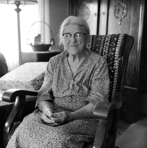 8-19-1981 Mary Shively-age 92-Mifflinburg Pennsylvania-She was born in this house and lived here tills she died at age 96-She was a lifelong friend of five generations of the Dersham family in Mifflinburg-Rolleiflex TLR camera-80mm Zeiss Planar lens-Kodak Tri X Pan 120 film-Edwal FG7 developer.