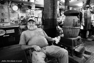 6-10-2016 Dwight Smithers-R.M. Woods General Merchandise-Rugby Tennessee-Est. 1920-Wista DX 4x5 camera-90mm Schneider Super Angulon lens-Ilford HP5+ 800 EI-PMK Pyro developer.