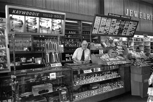 9-1998 Wikle Rexall Drug Store established 1893 closed 2000-Anniston Alabama-Fuji 6x9-65mm Fujinon lens-Ilford HP5+ 120 film-PMK Pyro developer.