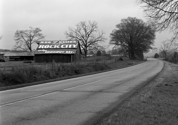 12-2003 Rock City Barn in DeKalb County Alabama on U.S. highway 11. Hasselblad camera-80mm Zeiss Planar lens-Ilford HP5+ 120 film-PMK Pyro developer.