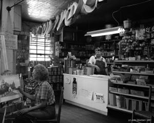 7-31-1991 Mr. and Mrs. Dan Marsh at Paul C. Marsh General Store-Locust Fork Alabama established 1945-Second generation-Toyo 8x10M camera-Fuji 250mm WS lens-Kodak Tmax 400 8x10 film-Tmax RS developer.