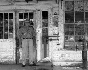"6-9-1991-Paul C Marsh of Paul C. Marsh General Store-Locust Fork Alabama established 1945-Toyo 8x10M camera-14""Georz Gold Dot Dagor lens-Kodak Tmax 100 8x10 film-Tmax RS developer."