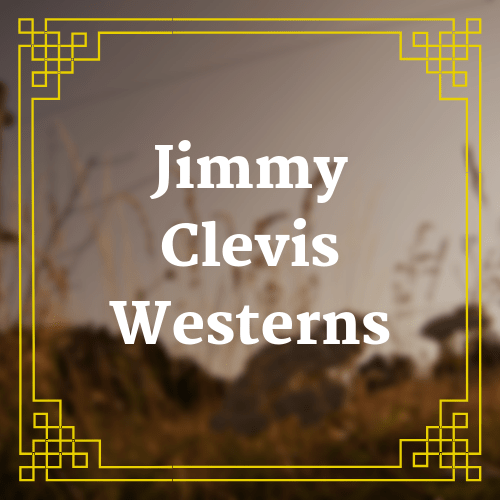 button with blurred landscape image and text saying Jimmy Clevis westerns overlaid on it