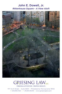 Rittenhouse Square - A View Aloft, Exhibition Postcard back, Philadelphia, by John Dowell artist photographer