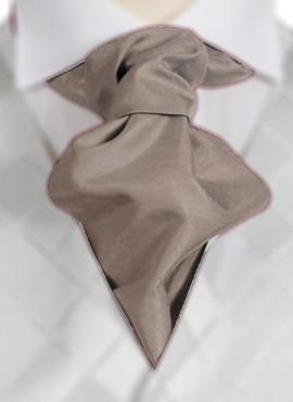 Taupe Ruche Tie (+ Handkerchief)
