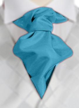 Turquoise Ruche Tie (+ Handkerchief)