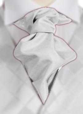 White Ruche Tie (+ Handkerchief)