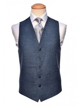 Tweed Blue / Grey Double Breasted Waistcoat (Rental Package Only not for sale)