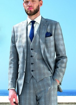 Grey Prince of Wales Check 3 Piece Suit by Torre