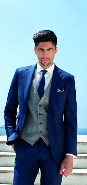 Bright Blue Pic N Pic 3 Piece Suit by Torre