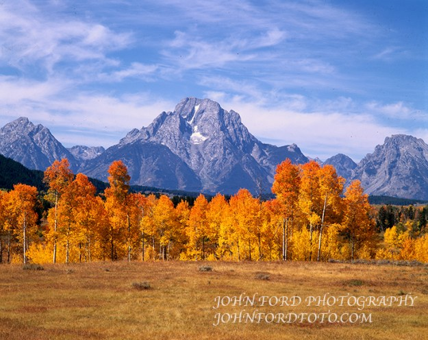 Fall colors at Oxbow Junction with Mt. Moran